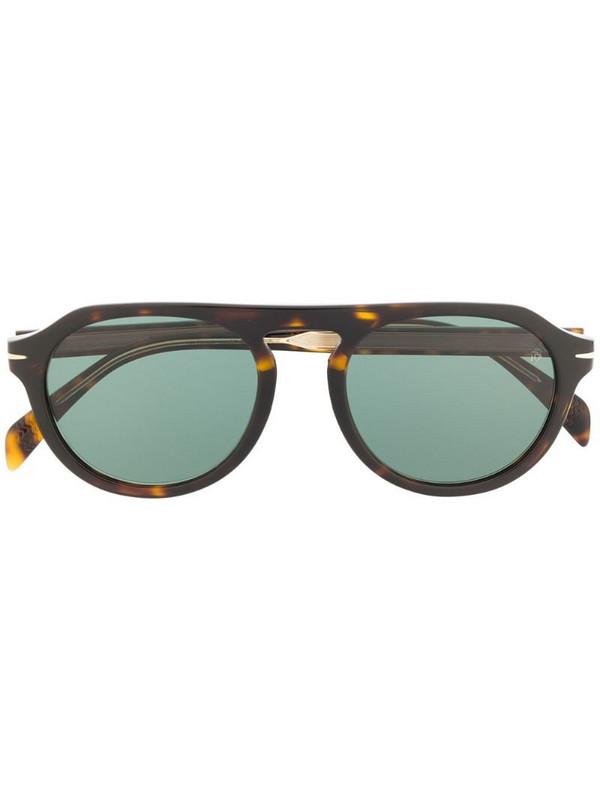 Eyewear by David Beckham tortoiseshell round-frame sunglasses in green