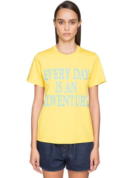 ALBERTA FERRETTI 'every Day An Adventure' Cotton T-shirt in blue / yellow