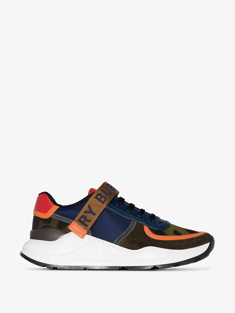 Burberry multicoloured Ronnie leather and mesh sneakers in blue / khaki