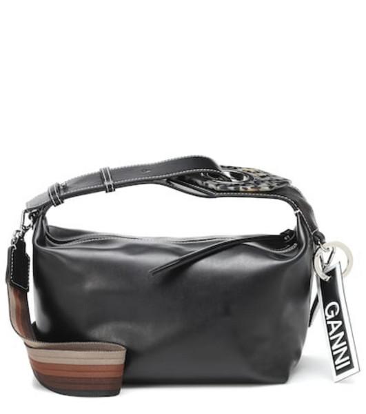 Ganni Leather shoulder bag in black