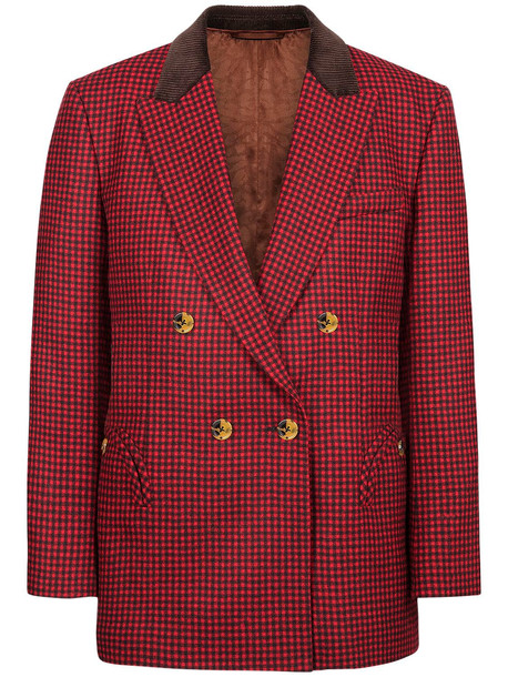 BLAZÉ MILANO Double Breasted Wool Jacket in brown / red