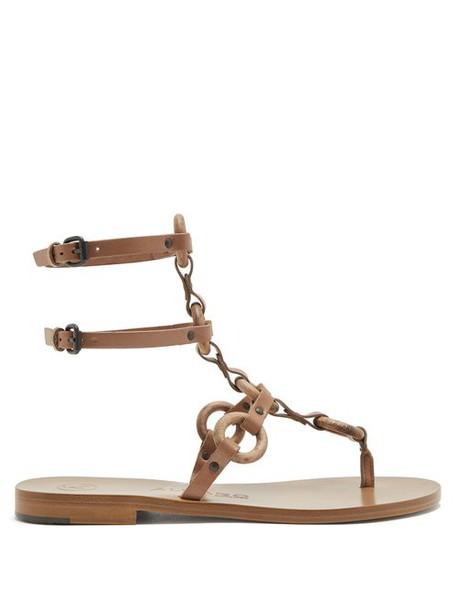 Álvaro Álvaro - Andorra T Bar Leather Sandals - Womens - Tan