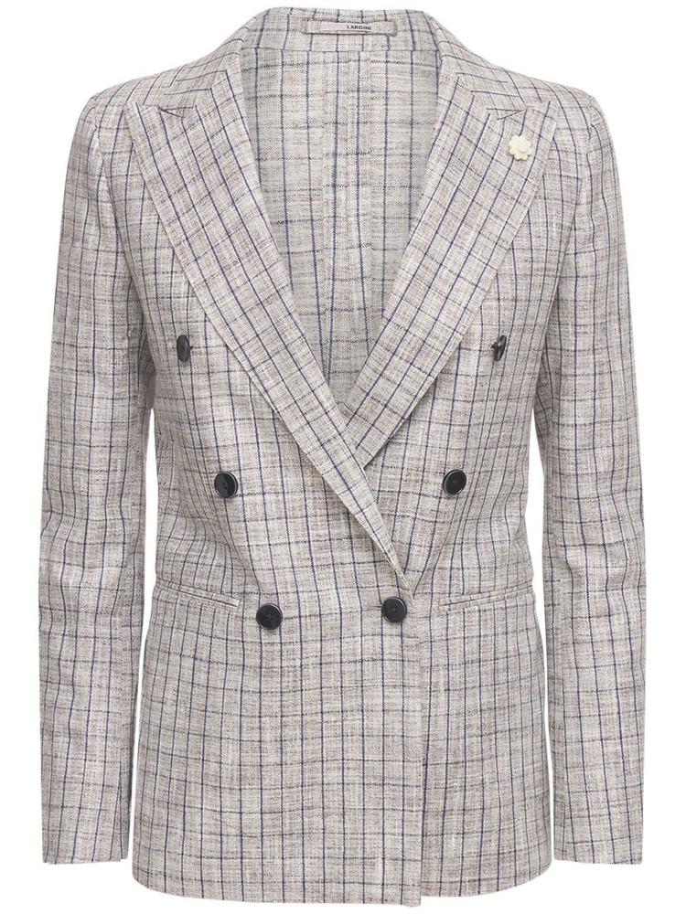 LARDINI Blanca Double Breast Silk Blend Jacket in grey