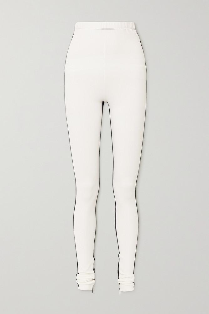 WARDROBE.NYC WARDROBE. NYC - + Net-a-porter Two-tone Zip-detailed Stretch-jersey Leggings - Off-white