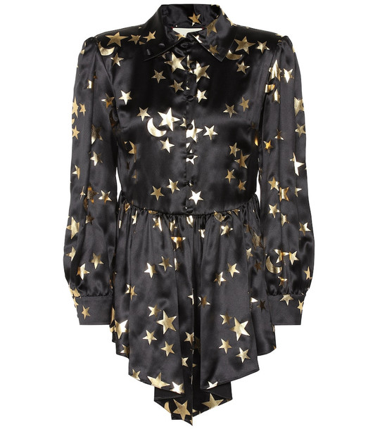 Gucci Printed silk-blend blouse in black