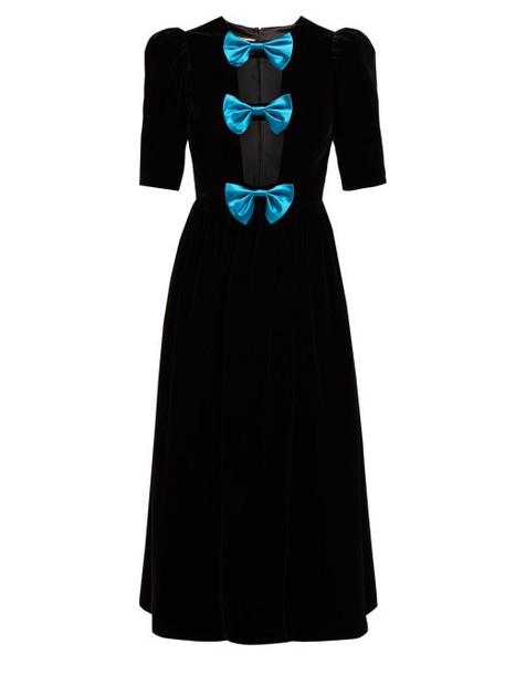Gucci - Bow Embellished Velvet Gown - Womens - Black Blue