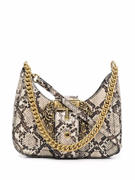Versace Jeans Couture logo-buckle crossbody bag - Neutrals