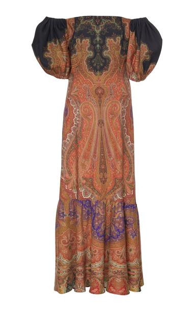 Etro Paisley Ruffled Crepe Dress Size: 44 in orange