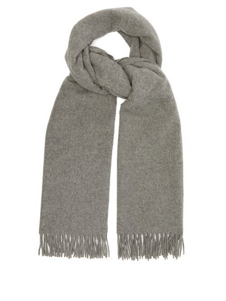 A.P.C. A.p.c. - Poslka Fringed Wool Scarf - Womens - Grey