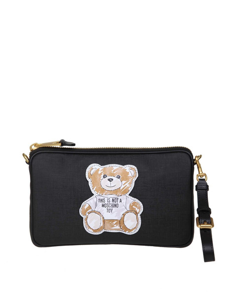 Moschino Teddy Shoulder Bag In Black Leather