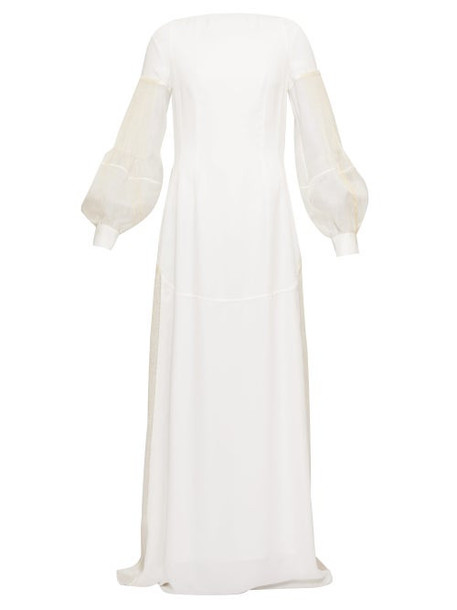 Loewe - Embroidered Pleated-sleeve Open-back Crepe Dress - Womens - White