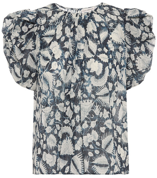 Ulla Johnson Nova floral cotton-blend top in blue