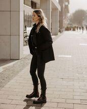 jacket,black blazer,black skinny jeans,black boots,black shirt