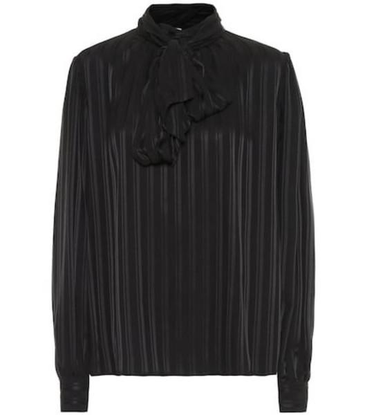 Saint Laurent Striped silk blouse in black