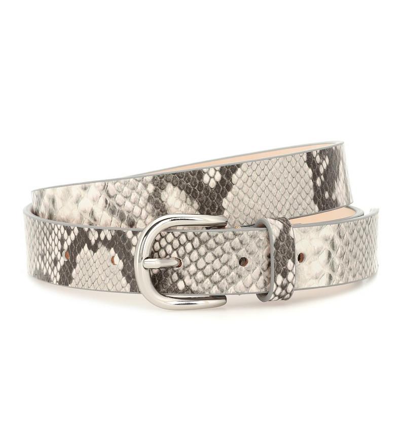 Isabel Marant Snake-effect leather belt in grey