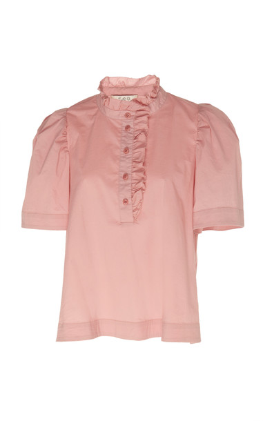 Sea Ruffled Short Sleeve Blouse in pink