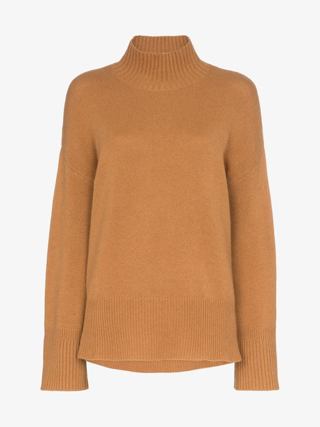 FRAME High Low cashmere turtleneck sweater in brown