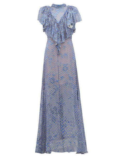 Preen By Thornton Bregazzi - Lyla Graphic Print Ruffled Devoré Maxi Dress - Womens - Blue