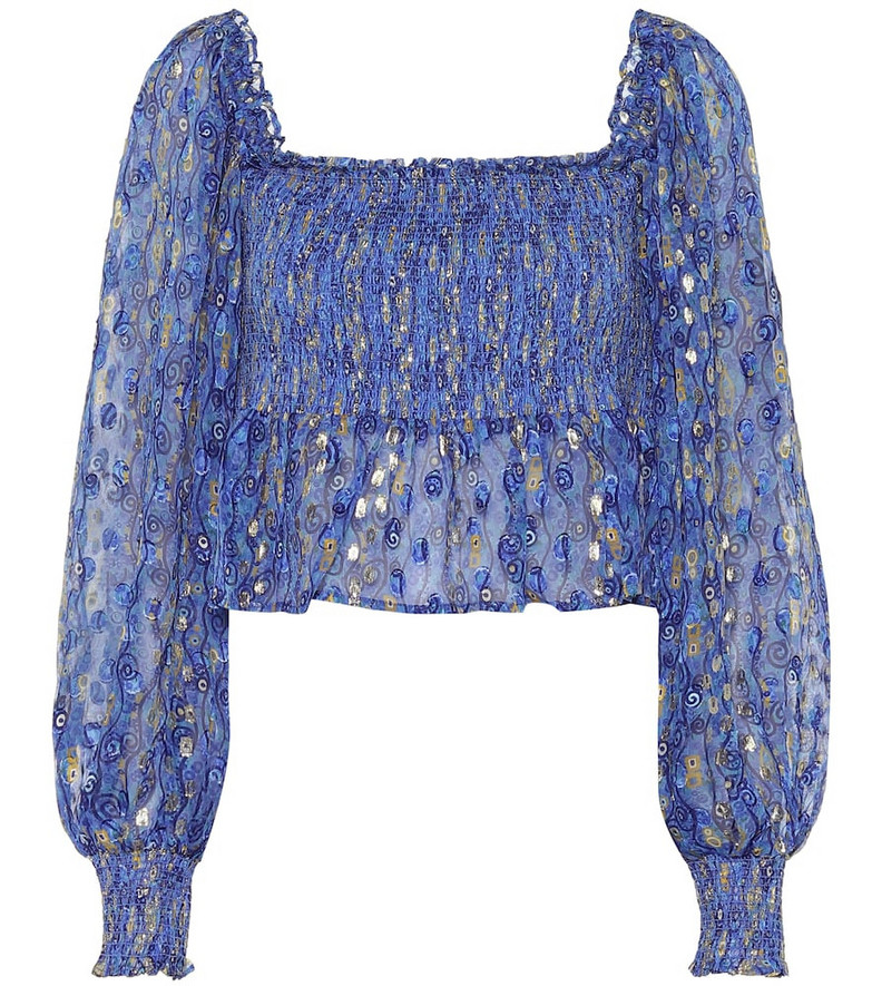 Rixo Eloise printed silk lamé blouse in blue