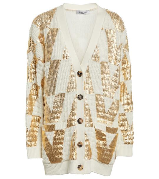 Valentino Printed virgin wool cardigan in white