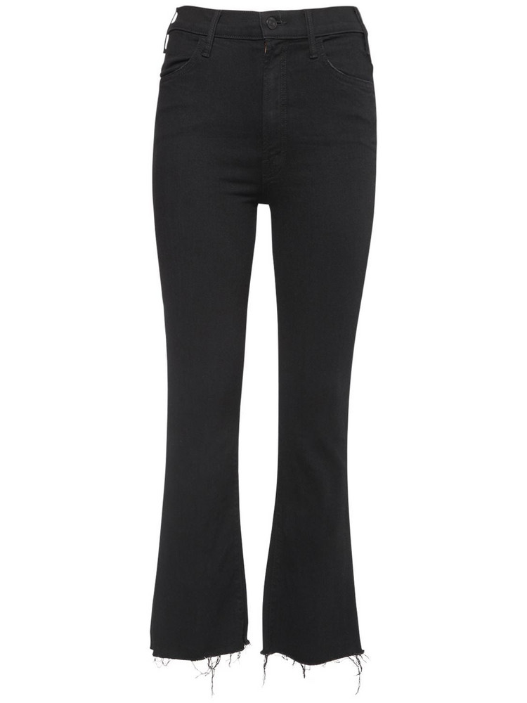 MOTHER The Insider Crop Fray Jeans in black