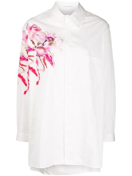 Yohji Yamamoto floral print longline shirt in white