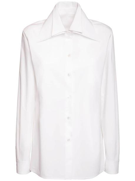 VALENTINO Cotton Poplin Double Collar Shirt in white