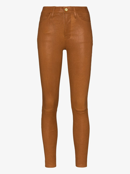 FRAME Le High Skinny leather trousers in brown