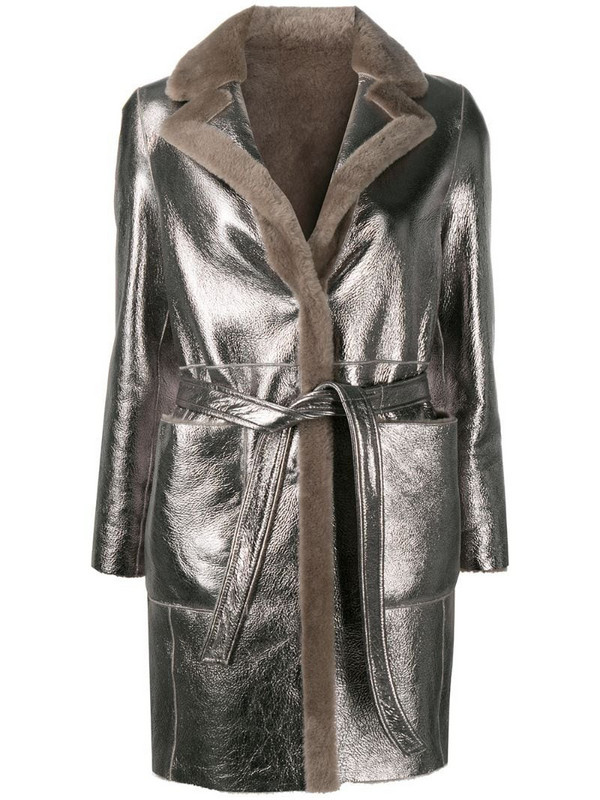 Blancha reversible leather jacket in silver