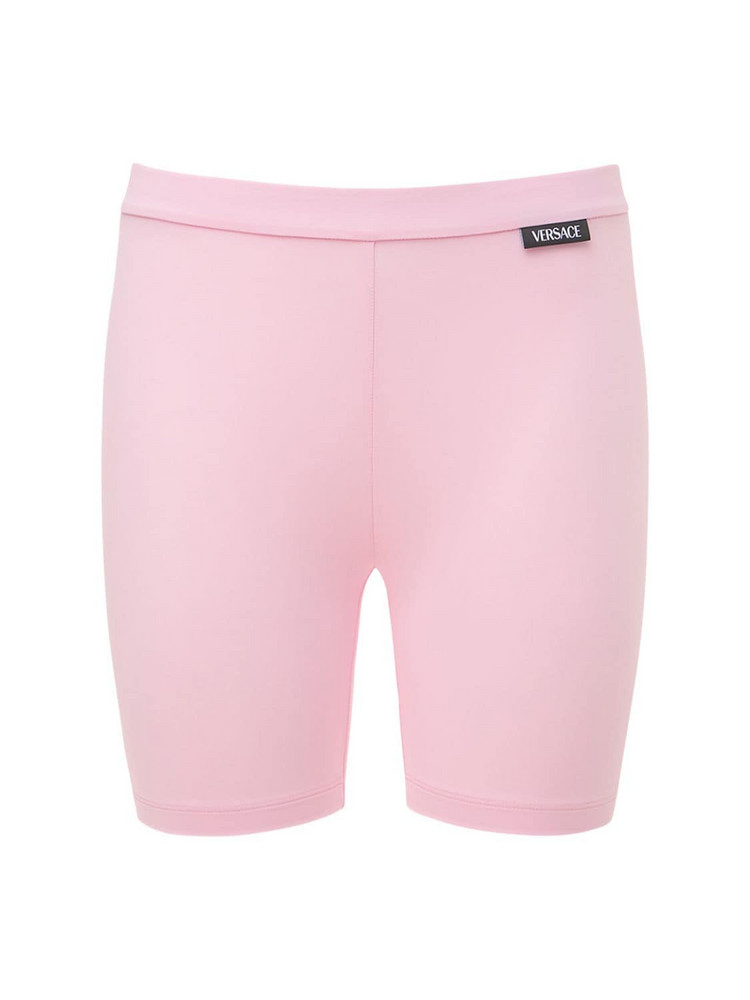 VERSACE Stretch Mini Cyclist Shorts W/ Logo in pink