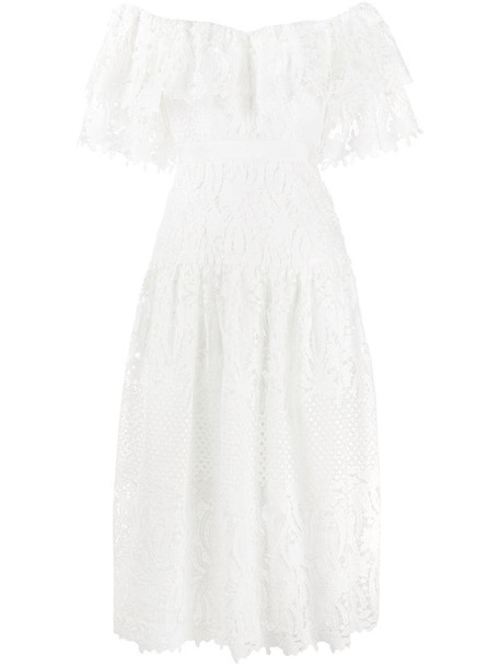 Self-Portrait lace tiered dress in white
