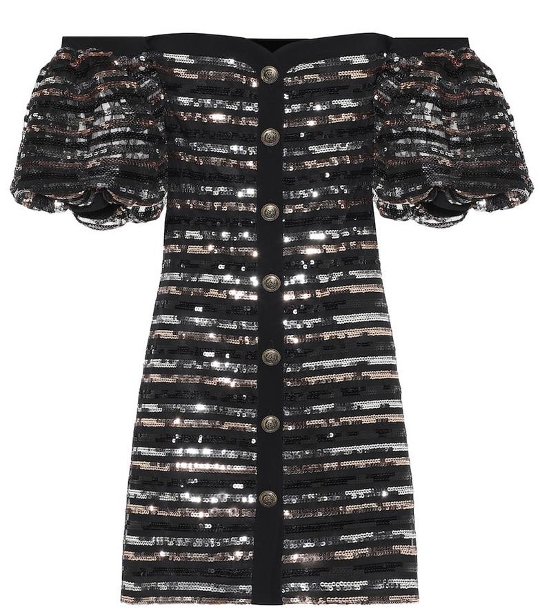 Philosophy Di Lorenzo Serafini Embellished off-the-shoulder minidress in black