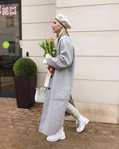 shoes,ankle boots,white boots,lace up boots,grey coat,long coat,white bag,pants,white sweater,beret