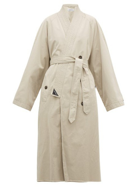 Balenciaga - Judo Cotton Gabardine Trench Coat - Womens - Beige