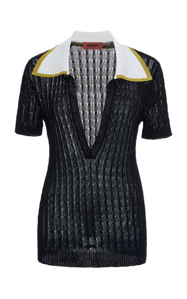 Missoni Metallic Knitted Silk Top Size: 38 in black