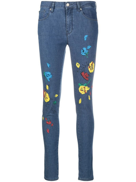 Love Moschino floral print skinny jeans in blue