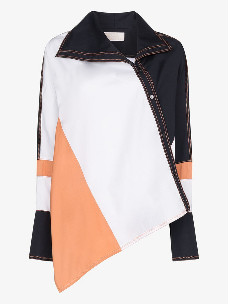 Peter Pilotto colour block asymmetrical cotton shirt in white