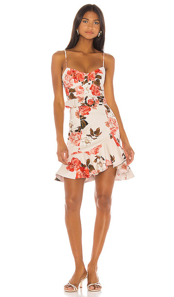 NICHOLAS Arielle Floral Frill Dress in Ivory