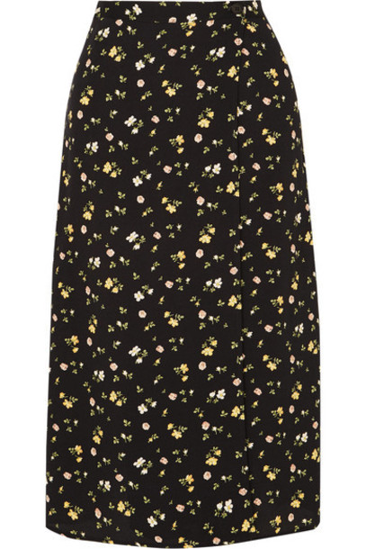 Reformation - Betty Floral-print Crepe De Chine Wrap Skirt - Black