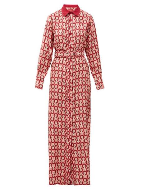 F.r.s - For Restless Sleepers - Elpis Circle-print Silk-twill Shirtdress - Womens - Pink Multi