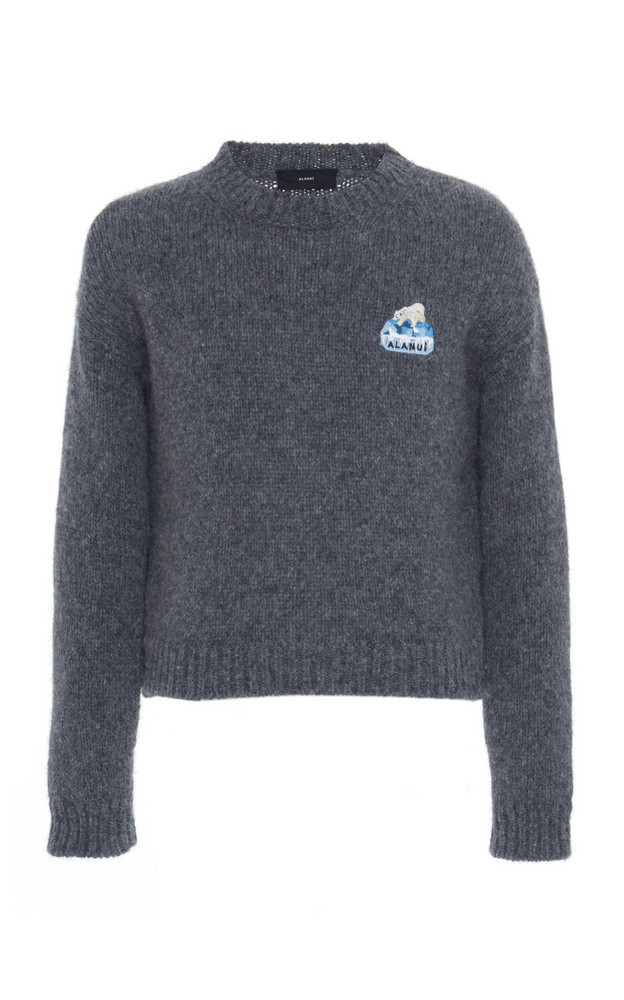 Alanui Global Warming Embroidered Alpaca-Blend Sweater in grey