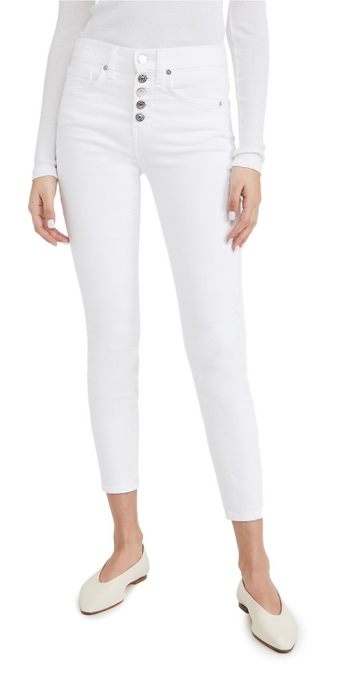 Veronica Beard Jean Debbie High Rise Skinny Ankle Jeans in white