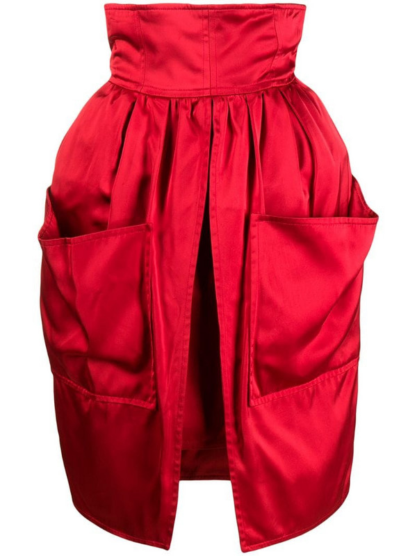 Balenciaga Pre-Owned 1980s front slit skirt in red