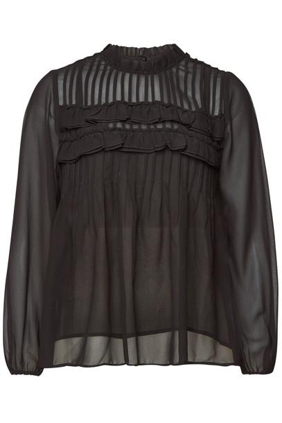 Velvet Jolie Semi-Sheer Blouse  in black
