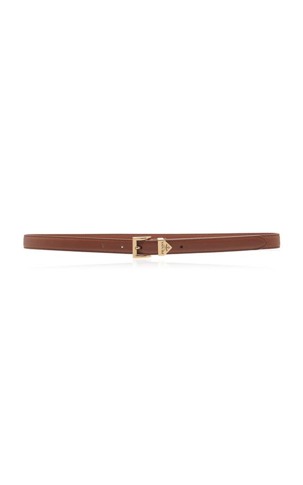 Prada Logo-Detailed Saffiano Leather Belt in brown