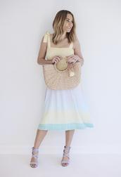 dress,pastel,midi dress,sandal heels,summer,summer dress,straw bag,lauren conrad,blogger