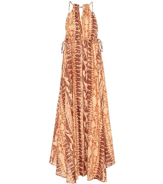 Cult Gaia Agatha printed linen maxi dress in brown