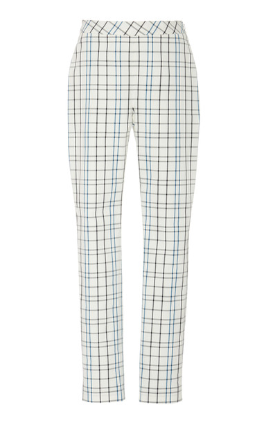 Carolina Herrera Skinny Straight Leg Check Pant Size: 0 in white