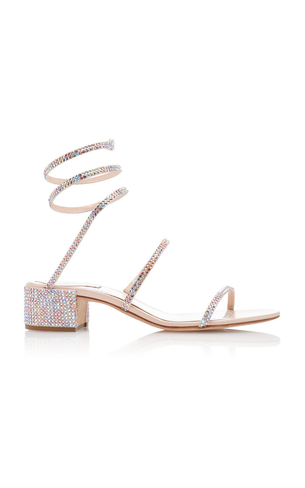 Rene Caovilla Crystal-Embellished Satin Sandals in multi