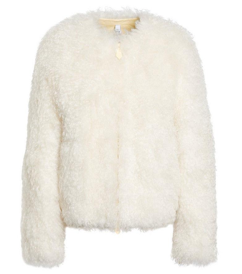 Burberry Leather-lined mohair-blend jacket in white